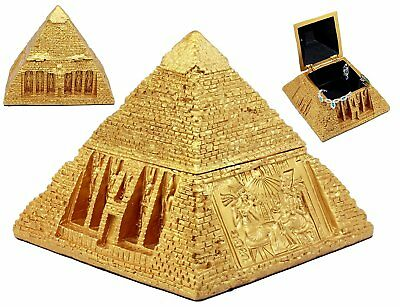 Egyptian Decorative Golden Pyramid Box Jewelry Chest Hinged Gold Finish Statue