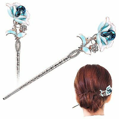 Chinese Traditional Style Hair Decor,STAR-TOP Vintage Crystal Rhinestone Flower