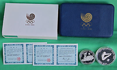 1988 Seoul Olympics Korean 2 Coin Proof Silver Diving Tug of War Box COA