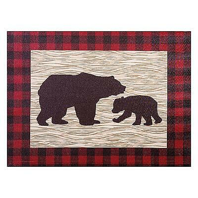 Bear Canvas Nursery Kids Room Decor Northwoods Tan Red Baby Boys Rustic Gift New