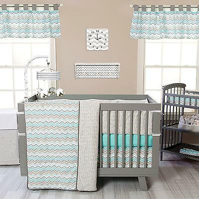 Crib Bedding Set 3 Piece Seashore Waves Nursery Baby Boys Girls Trend Lab New