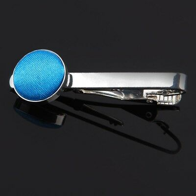 Premium Plain Silver Plated Men's Formal Wedding Tie Clips - Electric Blue