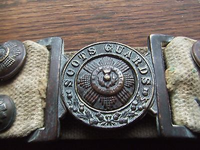 W.war.1.  Scots Guards Canvas Belt With Several Badges. A Rare Surviving Example