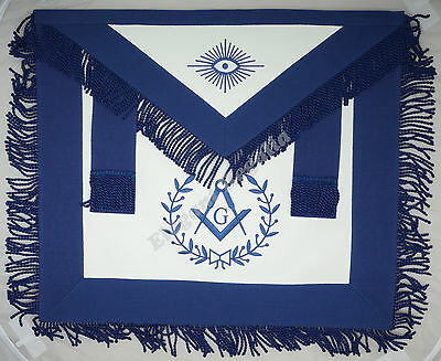 Blue Lodge Navy Blue Masonic Master Mason Apron With Fringe NB - Lambskin