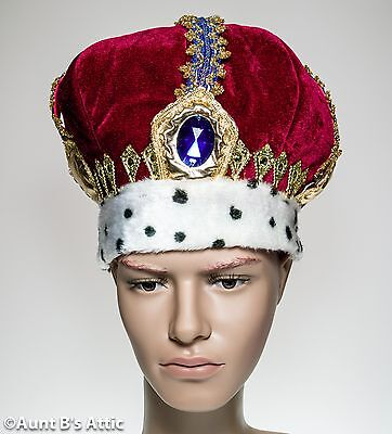 Kings Crown Deluxe Red & Gold Regal Costume Headpiece With Jewel OS
