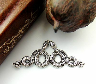 ANTIQUE SILVER Double SNAKES Motif ~ SNAKE Stamping ~ Jewelry Finding (C-509)