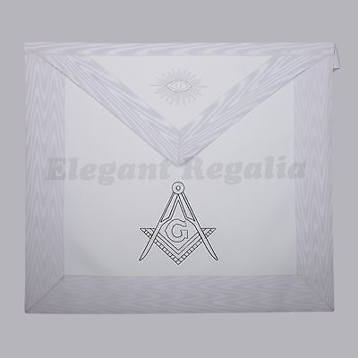 White Master Mason Apron with Embroidered Compass & G - Lambskin