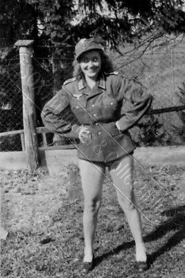 German or Collaborate Girl dressed only in Feldbluse photo nice legs 4x6