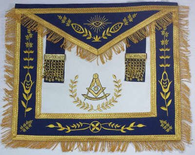 Masonic Apron-Past Master Apron Royal Blue Gold Embroidered with Fringe Lambskin