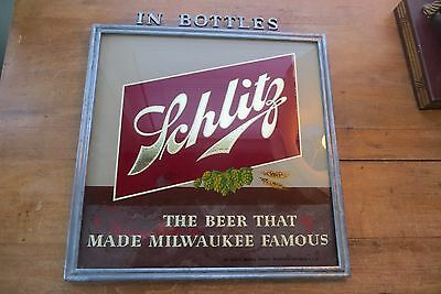 Vintage 1940's reverse glass painted SCHLITZ beer advertising size, metal frame