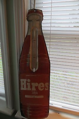 Old Hires steel outdoor advertising sign, thermometer, bottle shaped, root beer
