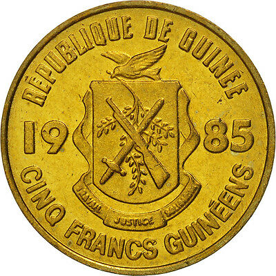 [#464515] Guinea, 5 Francs, 1985, MS(65-70), Brass Clad Steel, KM:53