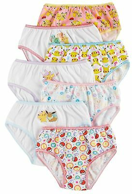 Pokemon Big Girls' 7pk Panties Sizes 4, 6, 8