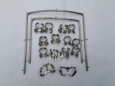 New Rubber Dam Starter Kit of 16 Pcs with Frame and  Clamps Dental Instruments