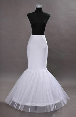 White Mermaid 1-Hoop Wedding Dress Petticoat / Crinoline / Skirt Slip New