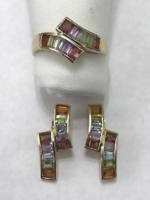 14k Solid Yellow Gold 5 Colored Gemstones Earring and Ring Jewelry Set
