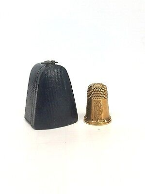 Antique 14k Yellow Gold Sewing Thimble with Case