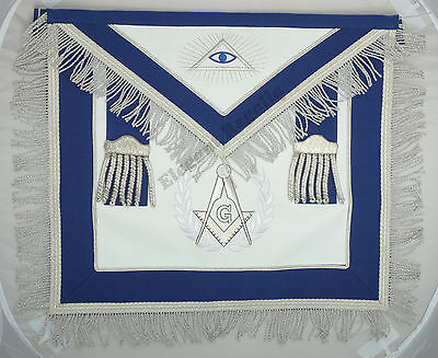 Masonic Master Mason Set Blue with Silver Embroidery Apron,Collar & Cuffs
