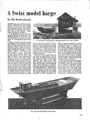 Plans for a swiss model barge (boat)
