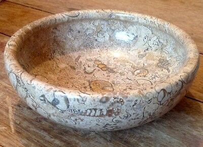 """New and Boxed. Large Himalayan Fossil Stone Marble Bowl 7"""" Diameter."""