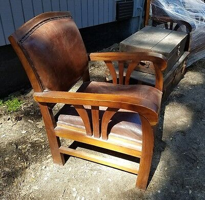 1 of 2 ONE Mission Arts and Crafts Leather Chair
