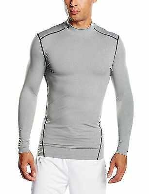 Under Armour UA Men ColdGear Compression Long Sleeve Mock Shirt Grey Select Size