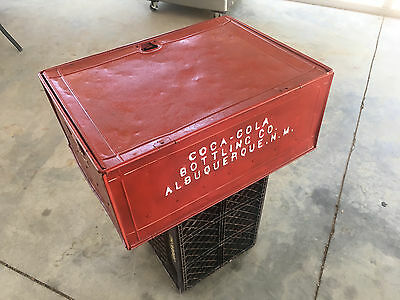 VINTAGE-METAL-COCA-COLA-BOTTLE-CRATE, 1900's RAILROAD/SHIPPING CRATE