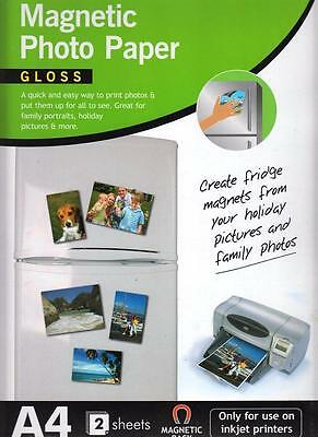 """4 Sheets Magnetic Gloss  Photo Paper Quick and Easy To Print Photos Size 6"""" X 4"""""""