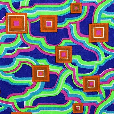4+ Yd Vintage Mod Psychedelic Neon Fabric Blue Green Hot Pink Orange Turquoise
