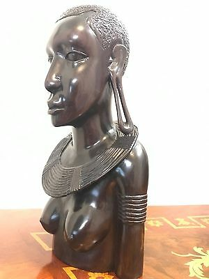 Vtg African Ebony Wood Hand Carved Maasai Woman Warrior Tribal Masai Art Statue