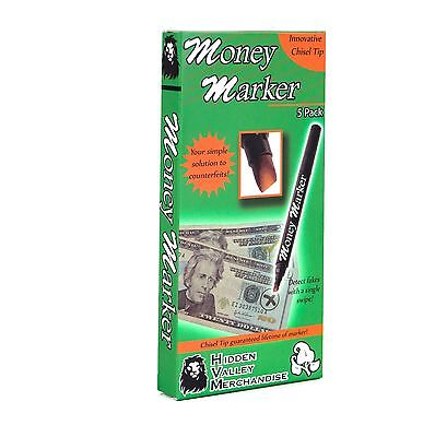 (5 pens) Money Marker - Counterfeit Fake Bill Detector Counterfit Dollar Pen