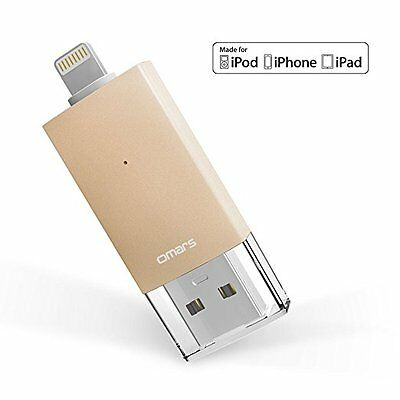 Omars 64G iPhone Flash Drive USB 3.0 w/Lightning Connector External Storage iPad