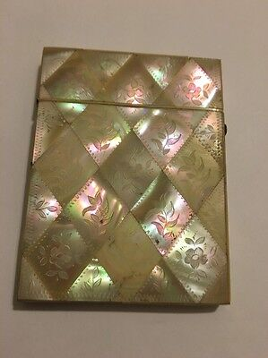 Antique Carved Mother Of Pearl Card Case Etui Flower Leaves Motif