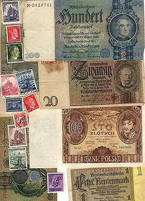 Nazi Banknote, Coin And Stamp Set  # 83