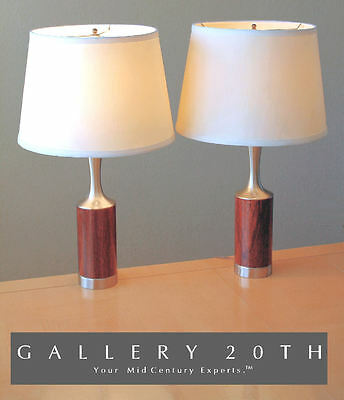 RARE! PAIR LAUREL MID CENTURY MODERN TABLE LAMPS! Rosewood Vtg 50's Eames Danish