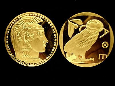Athena Goddess With Favorite Owl Of Attica 24K Gold Layer