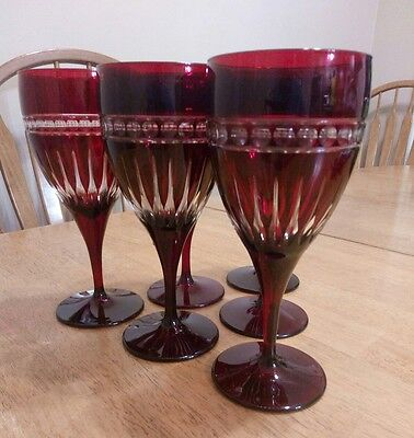 Vintage Bohemian Ruby Cased Glass Cut To Clear Goblets Stunning Set Of 6