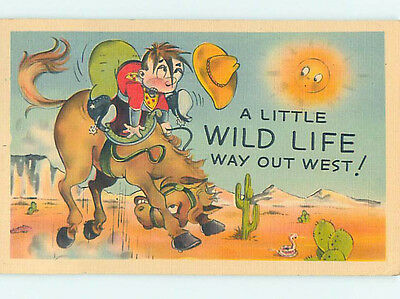 Linen comic OLD WEST COWBOY ON WILD BUCKING HORSE HJ2011