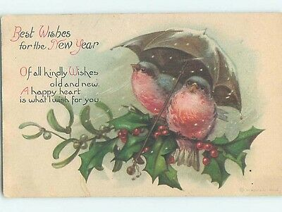 Pre-Linen new year CUTE BIRDS SITTING UNDER UMBRELLA ON HOLLY BRANCH HL1221