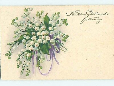 Pre-Linen foreign BEAUTIFUL LILY OF THE VALLEY FLOWER BOUQUET HL7444