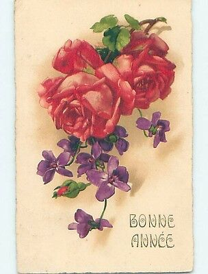 Pre-Linen foreign BEAUTIFUL ROSE AND VIOLET FLOWERS HL7780