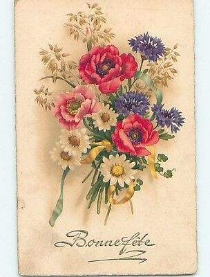 Pre-Linen foreign BEAUTIFUL ASSORTMENT OF COLORFUL FLOWERS IN BOUQUET HL9883