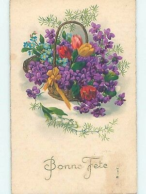 Pre-Linen foreign BEAUTIFUL ASSORTMENT OF FLOWERS IN BASKET HL7675