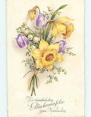 Pre-Linen foreign BEAUTIFUL DAFFODIL AND LILY OF THE VALLEY FLOWER BUNCH HL7928