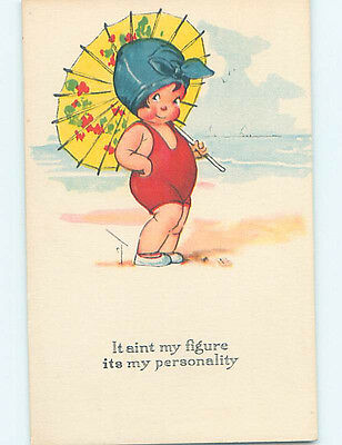 Pre-Linen comic signed CUTE GIRL WITH YELLOW PARASOL UMBRELLA AT BEACH HJ1813