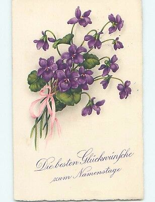 Pre-Linen foreign BEAUTIFUL VIOLET FLOWERS WITH PINK RIBBON HL7937