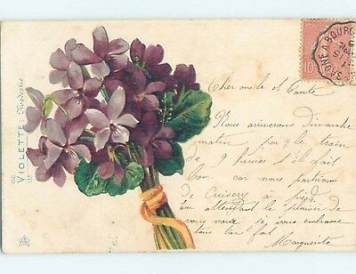 Pre-1907 foreign LARGE BEAUTIFUL BUNCH OF VIOLET FLOWERS HL7272