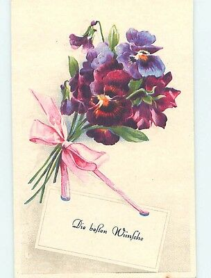 Pre-Chrome foreign BEAUTIFUL PANSY FLOWERS WITH PINK RIBBON HL8020