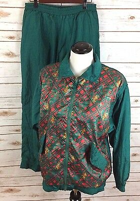 Vintage 80s S Lavon Nylon Tracksuit Windbreaker Jacket Pants Red Green Rare    A