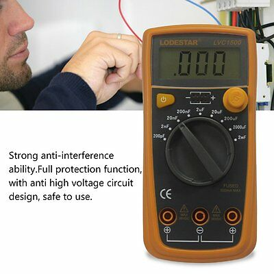 Digital Capacitance Meter LCD Display 200pF-20mF Electrical Capacitor Test F7